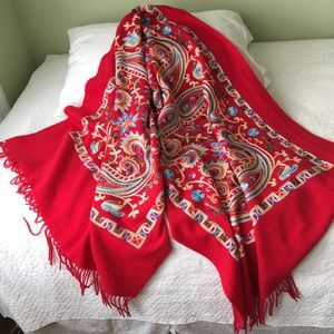 Women's Large Red Embroidered Wool Shawl Wrap